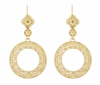 Art Deco Circle of Love Sterling Silver Drop Dangle Filigree Earrings with Yellow Gold Vermeil