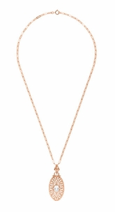 Art Deco Oval White Topaz Filigree Rose Gold Vermeil Pendant Necklace in Sterling Silver - Click to enlarge