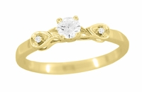 Retro Moderne 1/4 Carat Diamond Engagement Ring in 14 Karat Yellow Gold