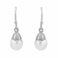 Art Deco Pearl Drop Earrings in 14 Karat White Gold