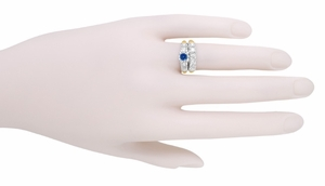 Mid Century Cornflower Blue Sapphire Engagement Ring in 14 Karat White and Yellow Gold - Click to enlarge