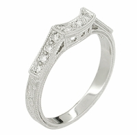 Art Deco Diamonds Filigree Scrolls Curved Wedding Ring in 18 Karat White Gold | Scroll Engraved Vintage Style Curved Band