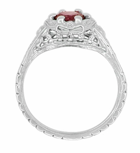 Art Deco Filigree Flowers Ruby Engagement Ring in 14 Karat White Gold - Click to enlarge