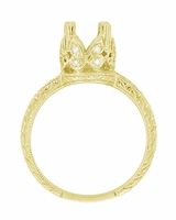 Art Deco 1 Carat Diamond Filigree Loving Butterflies Engraved Engagement Ring Setting in 18 Karat Yellow Gold