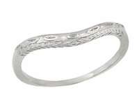 Art Deco Olive Leaves and Engraved Wheat Curved Wedding Band in 14 Karat White Gold