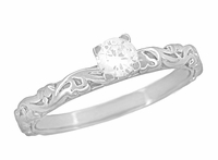 Art Deco Scrolls Diamond Engagement Ring in Platinum