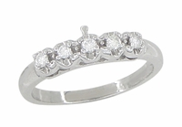 Retro Moderne Diamond Set Filigree Wedding Ring in Platinum