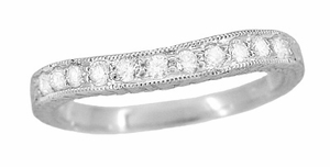 Art Deco Curved Engraved Wheat Diamond Palladium Wedding Band - Click to enlarge
