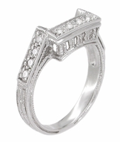 Art Deco Diamond Filigree Contoured Wedding Ring in Platinum