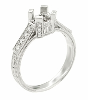 Art Deco 1/2 Carat Diamond Filigree Castle Engagement Ring Mounting in 18 Karat White Gold | Unique Antique Engagement Setting Design