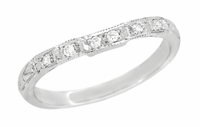 Art Deco Diamond Wedding Ring in 18 Karat White Gold