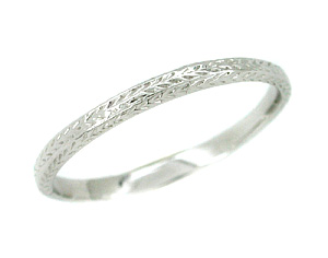 Art Deco Engraved Platinum Very Thin Wedding Band