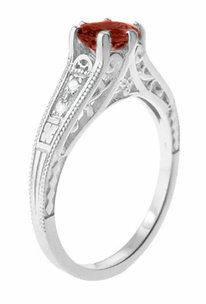 Art Deco Mozambique Garnet and Diamond Filigree Artisan Engagement Ring in 14 Karat White Gold - Click to enlarge