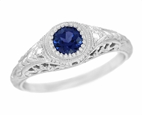 Art Deco Engraved Sapphire and Diamond Filigree Engagement Ring in Platinum