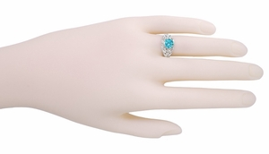 Edwardian Natural Blue Zircon Filigree Ring in 14 Karat White Gold - December Birthstone - Click to enlarge