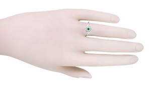 Flowers and Leaves Emerald Ring in 14 Karat White Gold - Item R373E - Image 2