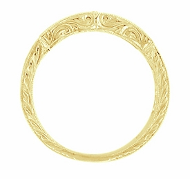 Art Deco Scrolls Diamond Engraved Wedding Ring in 18 Karat Yellow Gold - Click to enlarge