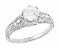 White Sapphire Filigree Engagement Ring in 14 Karat White Gold