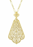 Edwardian Scalloped Leaf Dangling Filigree Pendant Necklace in Sterling Silver with Yellow Gold Vermeil