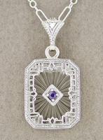 Art Deco Filigree Sapphire and Diamond Set Crystal Pendant Necklace in Sterling Silver