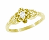 Flowers and Leaves Diamond Engagement Ring in 14 Karat Yellow Gold