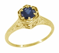 Art Deco Blue Sapphire Filigree Engagement Ring in 14 Karat Yellow Gold