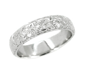 Art Deco Wedding Flowers Band in 18 Karat White Gold - Size 6