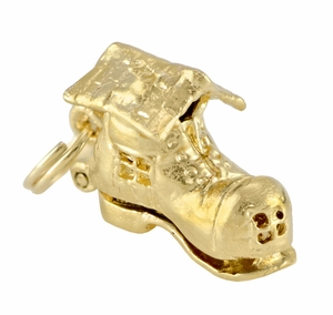 Movable Old Woman in A Shoe Charm in 14 Karat Gold - Click to enlarge