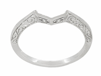 Art Deco Filigree Scrolls Engraved Contoured Wedding Band in 14 Karat White Gold
