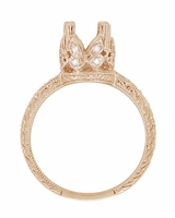 Filigree Loving Butterflies 1 Carat Diamond Engraved Engagement Ring Setting in 14 Karat Rose ( Pink ) Gold