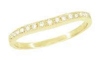 Curved Milgrain Diamond Wedding Band in 14 Karat Yellow Gold