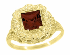 Princess Cut Garnet Art Nouveau Ring in 14 Karat Yellow Gold - Click to enlarge