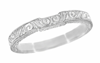 Art Deco Scrolls Contoured Engraved Wedding Band in Platinum