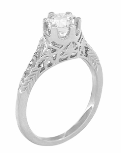 Art Deco 1/2 Carat Crown of Leaves Filigree Solitaire Diamond Engagement Ring in 18 Karat White Gold - Click to enlarge