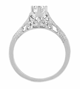Art Deco 1/2 Carat Crown of Leaves Filigree Solitaire Diamond Engagement Ring in 18 Karat White Gold - Item R299W50D - Image 3