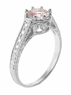 Art Deco Royal Crown Antique Style 1 Carat Morganite Engraved Engagement Ring in 18 Karat White Gold - Click to enlarge