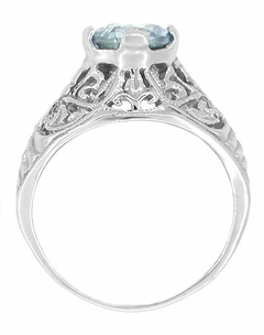 Edwardian Aquamarine Filigree Ring in 14 Karat White Gold - Item R721 - Image 1