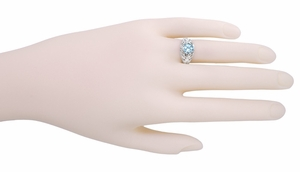 Edwardian Aquamarine Filigree Ring in 14 Karat White Gold - Click to enlarge