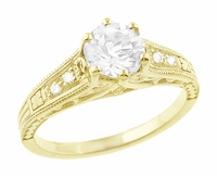 White Sapphire Filigree Engagement Ring in 14 Karat Yellow Gold