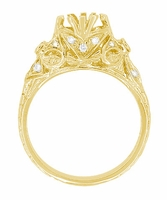 Edwardian Antique Style 1 Carat Filigree Engagement Ring Mounting in 18 Karat Yellow Gold