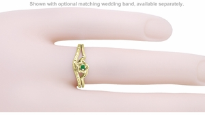 Retro Moderne Rose Emerald Ring in 14 Karat Yellow Gold - May Birthstone - Click to enlarge