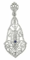 Art Deco Filigree Sapphire Pendant Necklace in 14 Karat White Gold