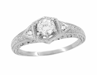 Art Deco White Sapphire Filigree Engraved Engagement Ring in 14 Karat White Gold
