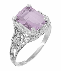 Edwardian Filigree Emerald Cut Rose de France Ring in 14 Karat White Gold - Click to enlarge