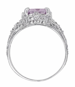 Edwardian Filigree Emerald Cut Rose de France Ring in 14 Karat White Gold - Item R618RF - Image 3