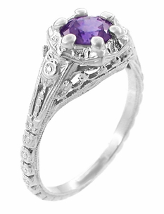 Filigree Art Deco Flowers Amethyst Engagement Ring in 14 Karat White Gold - Click to enlarge
