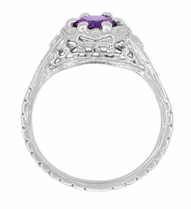 Filigree Art Deco Flowers Amethyst Engagement Ring in 14 Karat White Gold - Item R706WAM - Image 2