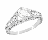 Art Deco Filigree Diamond Wheat Engraved Engagement Ring in Platinum