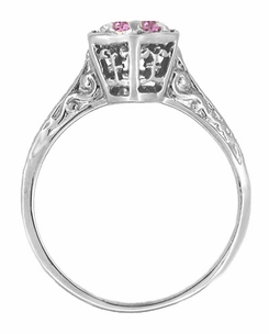 Art Deco Pink Sapphire Filigree Engagement Ring in 14 Karat White Gold - Item R180W33PS - Image 1