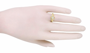 Vintage Engraved Flowers and Leaves 1/4 Carat Diamond Engagement Ring in 14 Karat Yellow Gold - Click to enlarge